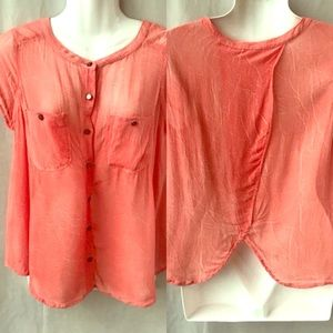 Free People Coral Button Down Cap Sleeved Top, Sm